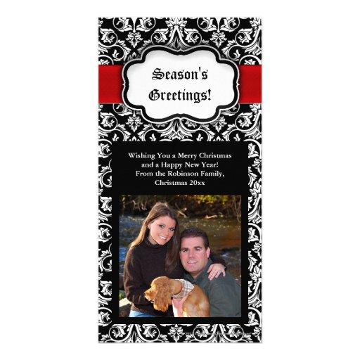 El saludo Photocard de la estación negra/roja/blan Tarjetas Fotográficas