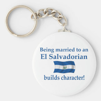 El Salvador Builds Character Basic Round Button Keychain