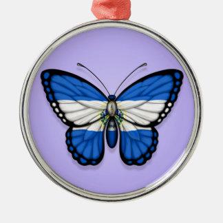 El Salvador Butterfly Flag on Purple Ornament