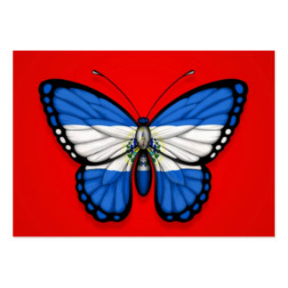 El Salvador Butterfly Flag on Red Large Business Card