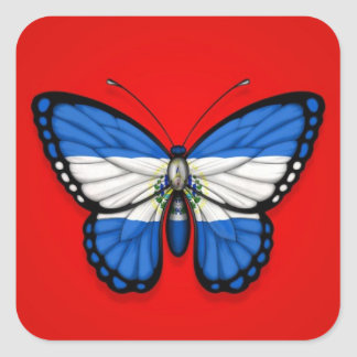 El Salvador Butterfly Flag on Red Square Sticker