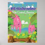 El Salvador Cartoon Travel print. Poster