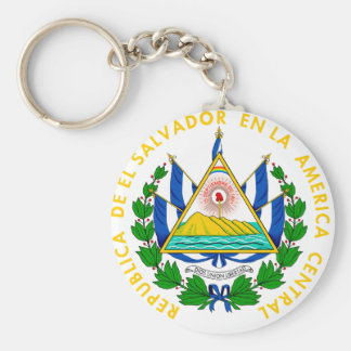 El Salvador Coat of arms SV Basic Round Button Keychain