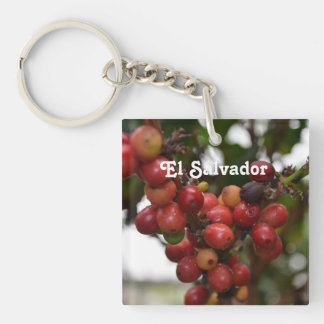El Salvador Coffee Beans Single-Sided Square Acrylic Keychain