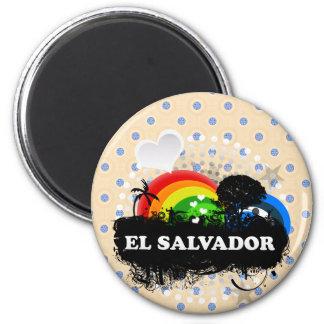 El Salvador con sabor a fruta lindo Imán Redondo 5 Cm
