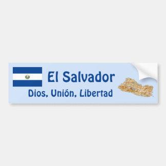 El Salvador Flag and Map Bumper Sticker
