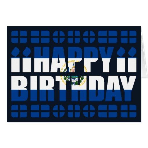 El Salvador Flag Birthday Card