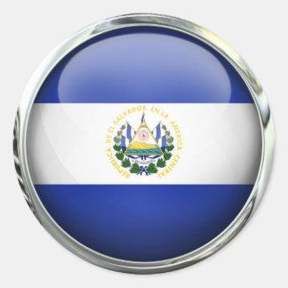 El Salvador Flag Glass Ball Classic Round Sticker
