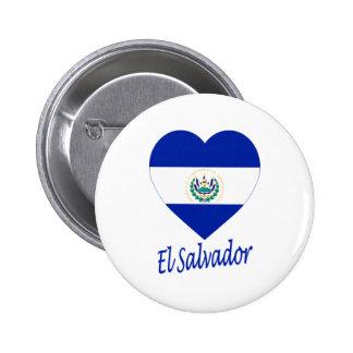 El Salvador Flag Heart Pinback Button
