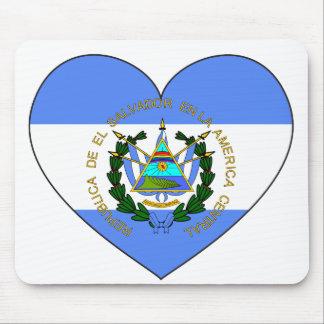 El Salvador Flag Heart Mouse Pad