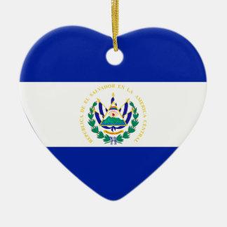 El Salvador Flag Heart Christmas Tree Ornament