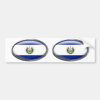 El Salvador Flag in Glass Oval Bumper Sticker