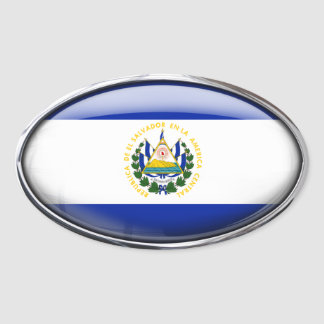 El Salvador Flag in Glass Oval (pack of 4) Oval Sticker