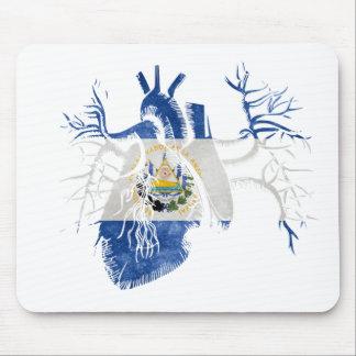 El Salvador Flag in Real heart Mouse Pad
