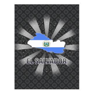 El Salvador Flag Map 2.0 Postcard