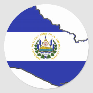 El Salvador Flag Map Classic Round Sticker