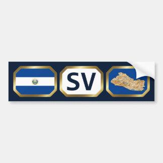 El Salvador Flag Map Code Bumper Sticker