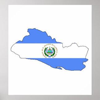 El Salvador Flag Map full size Poster