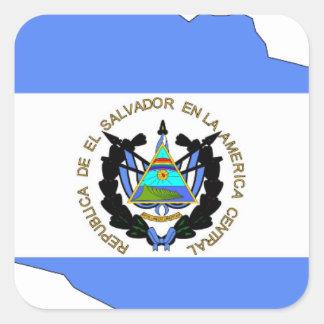 El Salvador Flag Map Square Sticker