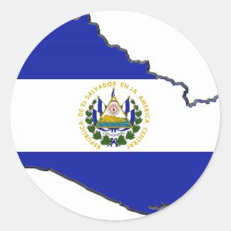 El Salvador Flag Map Round Sticker