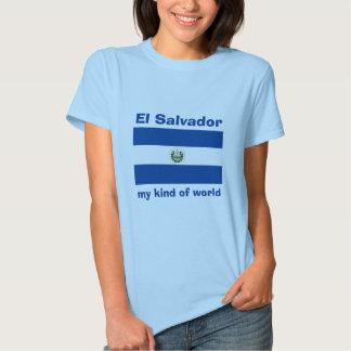 El Salvador Flag + Map + Text T-Shirt