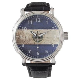El Salvador Flag on Old Wood Grain Wristwatches