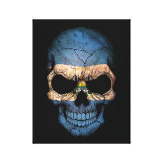 El Salvador Flag Skull on Black Canvas Print