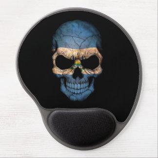 El Salvador Flag Skull on Black Gel Mouse Pad