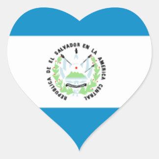 El Salvador Flag Heart Sticker