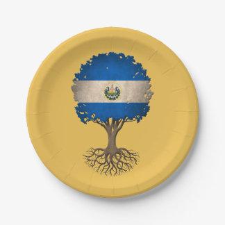 El Salvador Flag Tree of Life Customizable 7 Inch Paper Plate