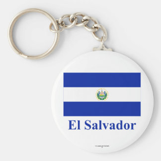 El Salvador Flag with Name Basic Round Button Keychain