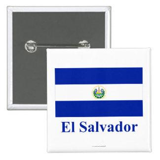 El Salvador Flag with Name Button