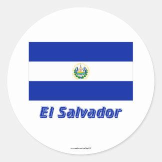 El Salvador Flag with Name Classic Round Sticker