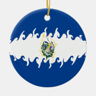 El Salvador Gnarly Flag Double-Sided Ceramic Round Christmas Ornament