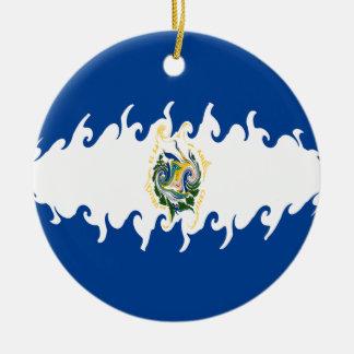 El Salvador Gnarly Flag Double-Sided Ceramic Round Christmas Ornament