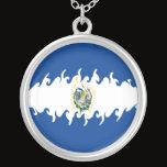 El Salvador Gnarly Flag Silver Plated Necklace