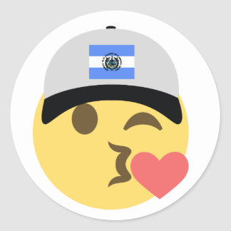 El Salvador Hat Kiss Emoji Classic Round Sticker