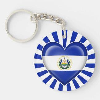 El Salvador Heart Flag with Sun Rays Keychain