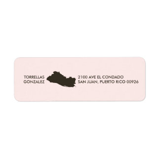 El Salvador Map: Personalized: Pink Return Address Label