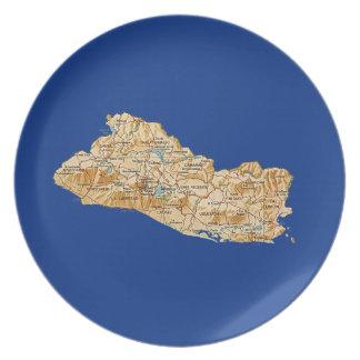 El Salvador Map Plate