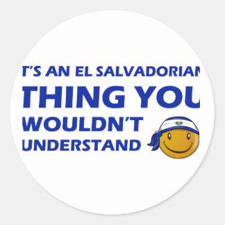 El Salvador Smiley Designs Round Stickers