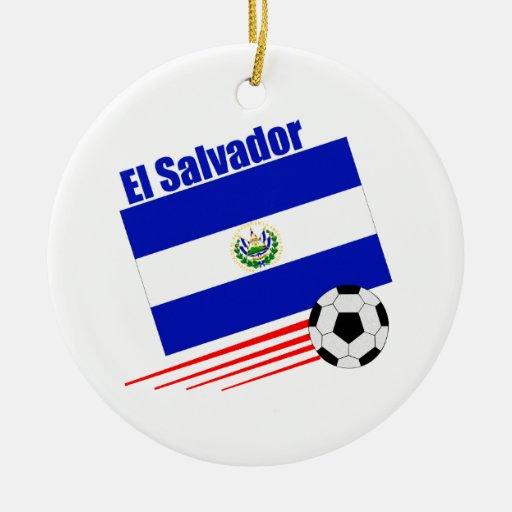 El Salvador Soccer Team Double-Sided Ceramic Round Christmas Ornament