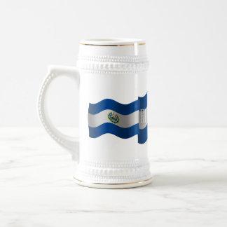 El Salvador Waving Flag Beer Stein