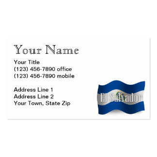 El Salvador Waving Flag Business Card Template