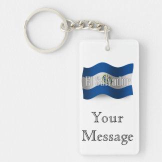 El Salvador Waving Flag Double-Sided Rectangular Acrylic Keychain