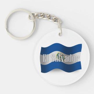 El Salvador Waving Flag Double-Sided Round Acrylic Keychain