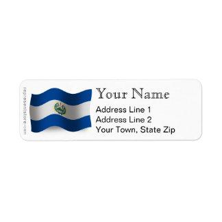 El Salvador Waving Flag Label