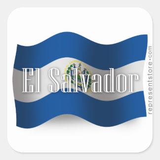 El Salvador Waving Flag Square Sticker