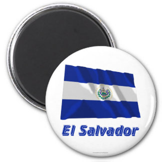 El Salvador Waving Flag with Name Magnet