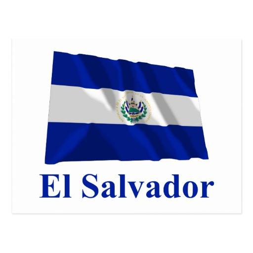 El Salvador Waving Flag with Name Postcard